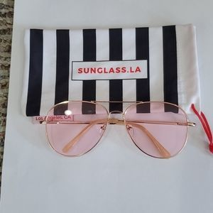 NWT Sunglass.LA Pink and Gold Sunglasses.